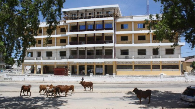 Renovation continues on the Women's Association Building, a four-storey structure built in 1985 to host women associations' events and meetings. The building, which is located opposite the Somali National Theatre, was used an as IDP settlement for the last two decades. Abdi Latif Dahir/UPI