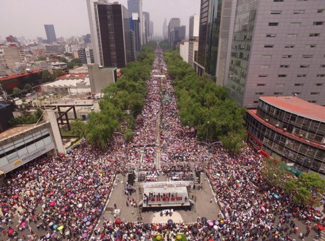 Mexico's National Coordinator of Education Workers, or CNTE, teachers union has been on strike since mid-May and intensified protests, such as one seen here in Mexico City, over constitutional education reforms in June. The Mexican government and the CNTE on Tuesday announced both sides will hold meetings over the reforms. Photo courtesy of Andrés Manuel Lopez Obrador