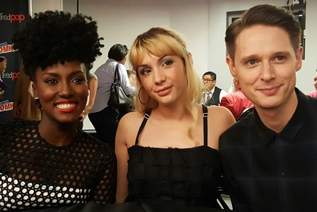 Jade Eshete, Hannah Marks and Samuel Barnett (L-R) talk about their new BBC America series Dirk Gently's Holistic Detective Agency at New York Comic Con on Oct. 7, 2016. File Photo by Karen Butler/UPI