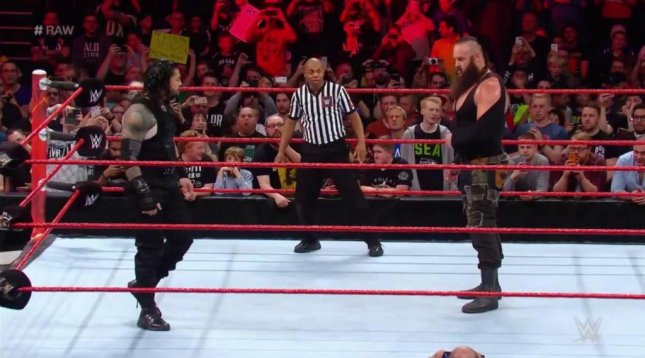 Roman Reigns confronts Braun Strowman on Raw. Photo courtesy of WWE/Twitter