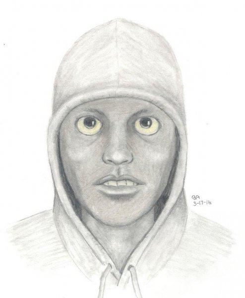 A police composite sketch of a serial window peeper is going viral due to its unusual eyes. Photo courtesy of the Citrus Heights Police Department