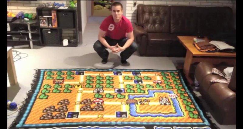 Kjetil Nordin spent 6 years crocheting a screen from Super Mario Bros. 3 onto a blanket. Q13Fox video screenshot