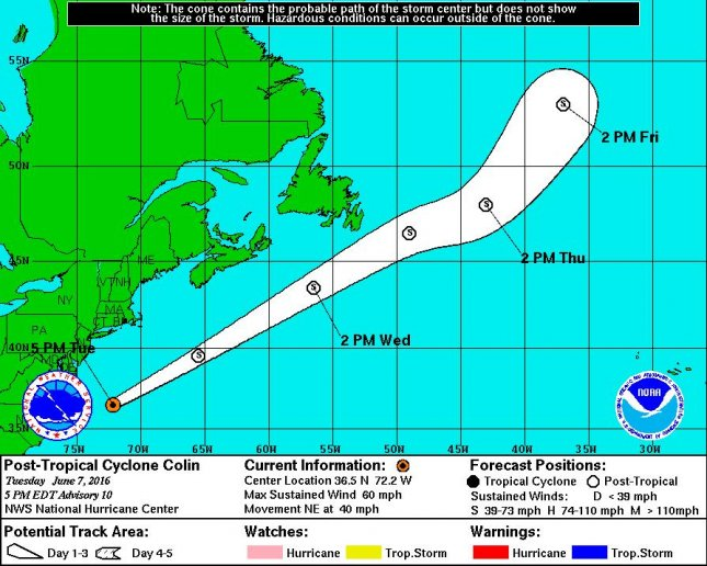 Tropical Storm Colin was downgraded to a tropical depression as it moved into the open Atlantic Ocean, where it is expected to dissipate on Friday. Colin brought maximum sustained winds of 50 miles per hour. Image courtesy of National Weather Service