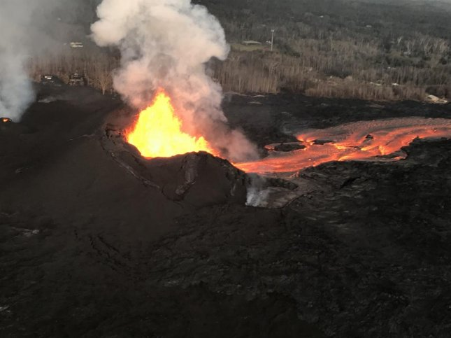 Hawaiian Volcano Observatory officials warned of falling ash after a small explosion at the summit of the KIlauea volcano Sunday morning. Photo courtesy U.S. Geological Survey