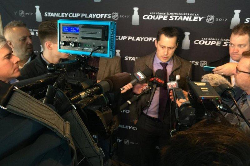 Ottawa coach Guy Boucher addresses the media before the team left for New York. Photo courtesy Ottawa Senators via Twitter