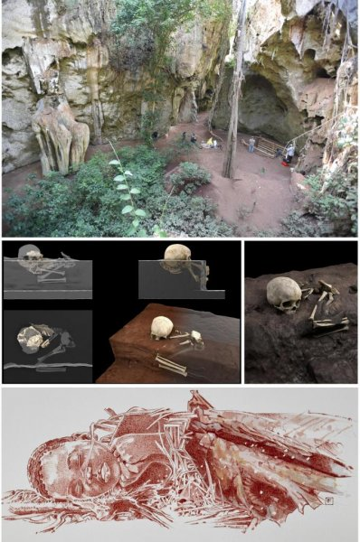 Researchers found the remains of a young child, buried at least 78,000 years ago, in an ancient pit in Kenya -- the oldest human burial in Africa. Photo by Mohammad Javad Shoaee/Jorge González/Elena Santos/F. Fuego/Max Planck Institute/CENIEH