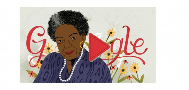Google is paying homage to poet Maya Angelou with a new Doodle. Image courtesy of Google