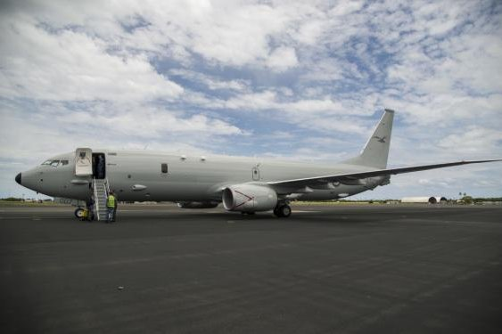 A Royal Australian Air Force P-8A Poseidon, the seventh to be delivered to Australia, arrives at Joint Base Pearl Harbor-Hickam, Hawaii, on May 1, 2018. Photo by Tech. Sgt. Heather Redman/15th Wing Public Affairs/U.S. Air Force
