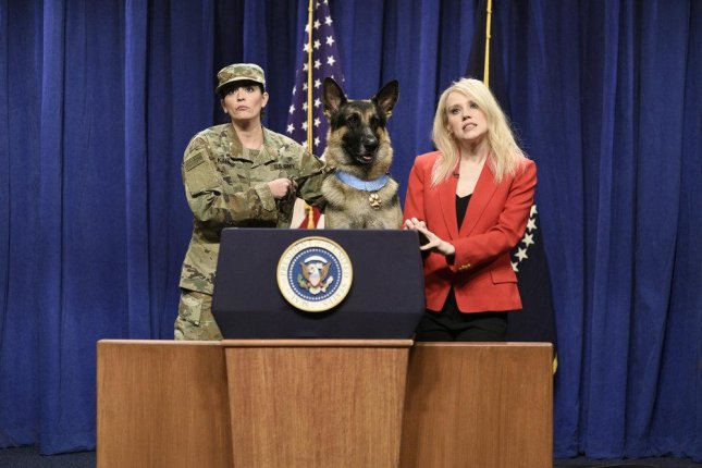 Cecily Strong plays a canine translator and Kate McKinnon plays Kellyanne Conway on this weekend's edition of Saturday Night Live. Photo by Will Heath/NBC