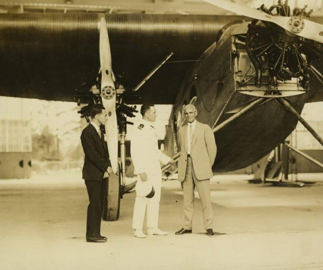 Edsel Ford, Commander Richard E. Byrd and Henry Ford with a 1926 Ford Tri-Motor 4-AT-1 airplane. Byrd's expedition was financed in part by a $100,000 contribution from Edsel Ford. Photo courtesy The Henry Ford Museum