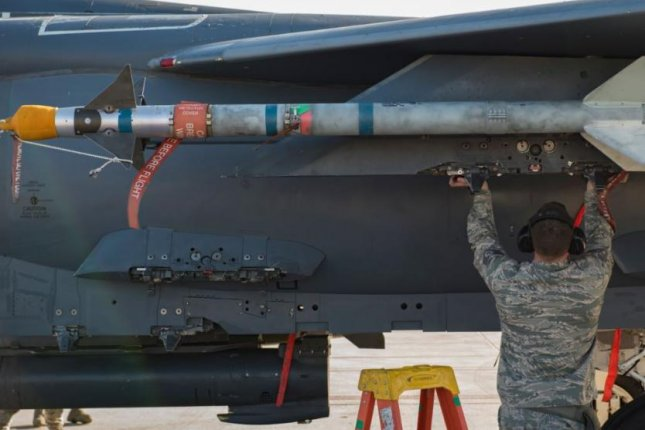 The U.S. Air Force announced a $21 million modification to a contract with Raytheon Missile Systems on Thursday, for upgrades to its advanced medium-range air-to-air missile system. Photo by A1C Daniel Sarver/99th Air Base Wing Public Affairs/U.S. Air Force/UPI