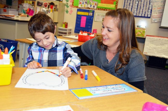 Matthew Parker and his first-grade teacher, Lindsey Painter, who will donate one of her kidneys to him. Photo courtesy Comal Independent School District