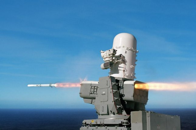 The SeaRAM anti-ship missile defense system fires a Rolling Airframe Missile at its target. U.S. Navy photo
