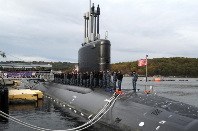 The Virginia-class submarine USS Illinois is prepared for commissioning. U.S. Navy photo