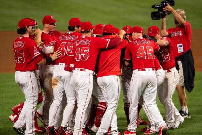 Los Angeles Angels players all wore No. 45 Friday night in honor of former teammate Tyler Skaggs, who died July 1. Photo by Angels/Twitter