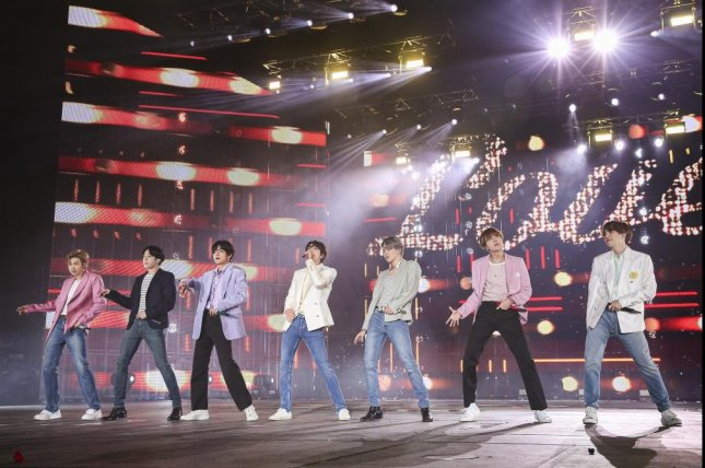 The seven members of BTS play their final show of theLove Yourself: Speak Yourselftour on Tuesday night in Seoul. Photo courtesy of Big Hit Entertainment