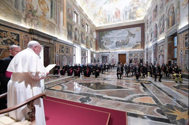 A handout picture provided by the Vatican Media shows Pope Francis during his audience with doctors, nurses and healthcare professionals from Lombardy in Vatican City Saturday. Photo courtesy of Vatican Media/EPA-EFE