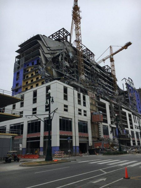 Two people died and another remains missing after the upper floors of the Hard Rock Hotel under construction in New Orleans collapsed Saturday. Photo courtesy of the New Orleans Fire Department