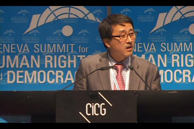 Speaking at the Geneva Summit for Human Rights and Democracy on Tuesday, 47-year-old Lim Il said North Korea sends tens of thousands of unpaid laborers out of the country. They earn the regime billions of dollars. Photo courtesy Geneva Summit for Human Rights and Democracy