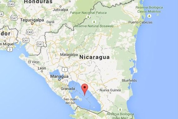 Thousands of people demonstrated in Nicaragua on Saturday against a project to build a canal linking the Atlantic and Pacific Oceans. Opponents of the project say it will displace tens of thousands and cause environmental devastation in Lake Nicaragua, Central America's largest freshwater reservoir. Image from Google Maps