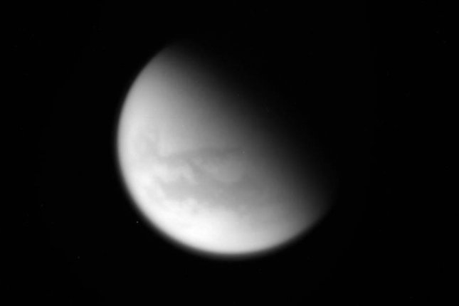 An unprocessed photo of Saturn's moon, Titan, captured by Cassini on the probe's final flyby. Photo by NASA/JPL