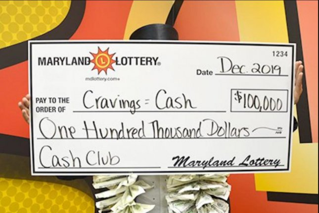 A Maryland man said his wife's pregnancy cravings led to his winning $100,000 from a scratch-off lottery ticket. Photo courtesy of the Maryland Lottery