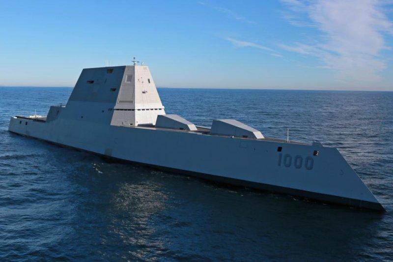 USS Zumwalt (DDG 1000) pictured during sea trials in the Atlantic Ocean December 7, 2015. U.S. Navy photo courtesy of General Dynamics Bath Iron Works