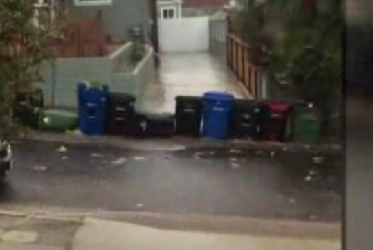 A parade of trash bins is carried down a Los Angeles street by flood waters. KTLA-TV video screenshot