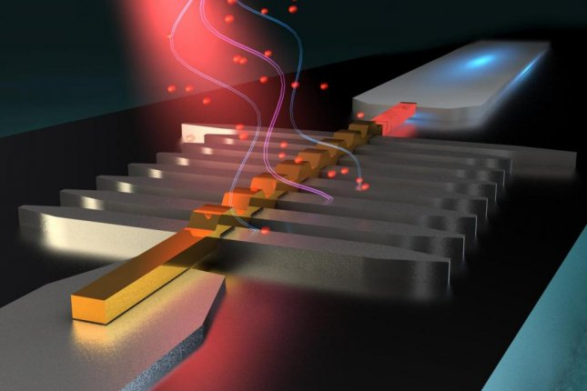 An artistic rendering shows the hybrid superconductor-metal microwave detector absorbing a small burst of microwave photons. Photo by Ella Maru Sudio/Aalto University