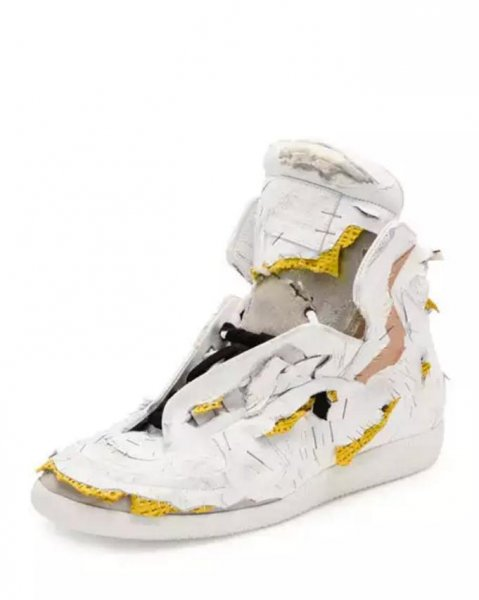The Future Destroyed High-Top Sneaker, designed by Maison Margiela,is listed for $1,425 on high-end retailer Neiman Marcus' website. Photo by NeimanMarcus.com