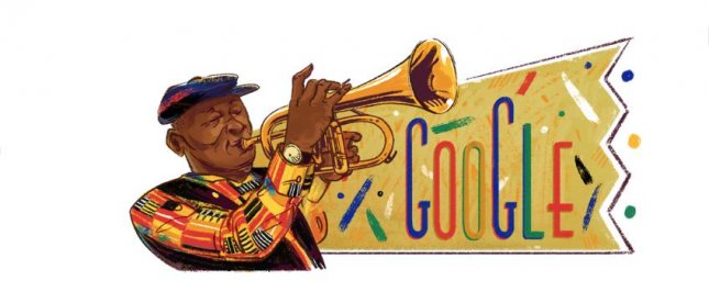 Google is paying homage to trumpeter and human rights advocate Hugh Masekela with a new Doodle. Image courtesy of Google