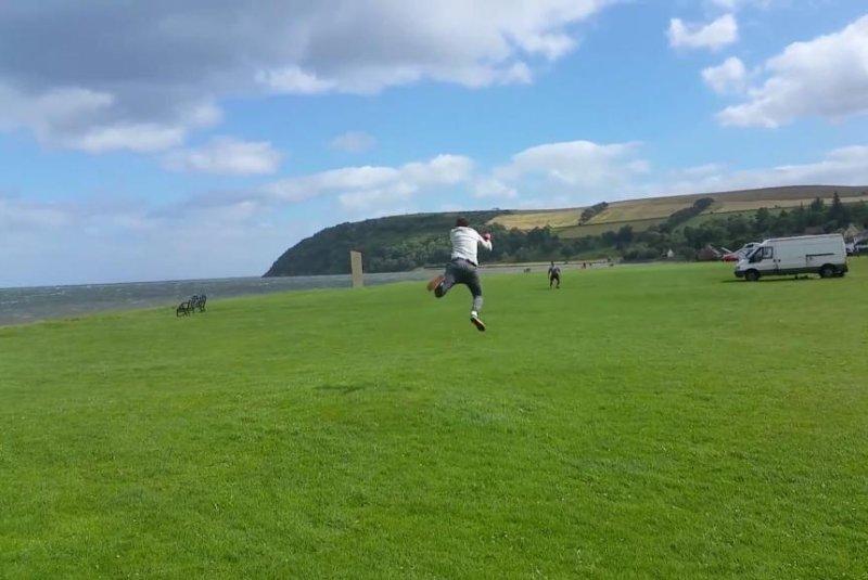 A Scottish man's kite lifts him off the ground. Screenshot: Storyful