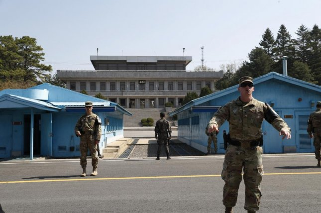 South Korean soldiers stand guard April 18 at the Joint Security Area of the Demilitarized Zone in the border village of Panmunjom, South Korea. Photo by Jeon Heon-kyun/EPA-EFE