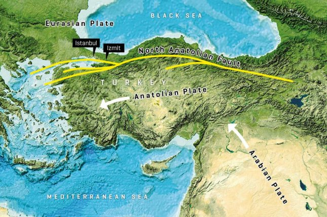 Along the northern coast of Turkey, the Anatolia and the Eurasian Earth Plate rub against each other, forming the North Anatolian fault. Photo GEBCO world map 2014/gebco.net/GEOMAR Helmholtz Center for Ocean Research Kiel