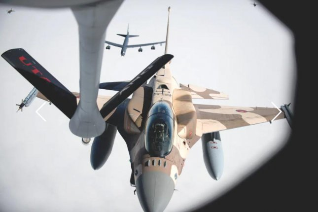 A Moroccan air force F-16 fighter moves into position for refueling. The country's government announced the purchase of missiles and missile defense systems from France on Wednesday. Photo courtesy of U.S. Air Force
