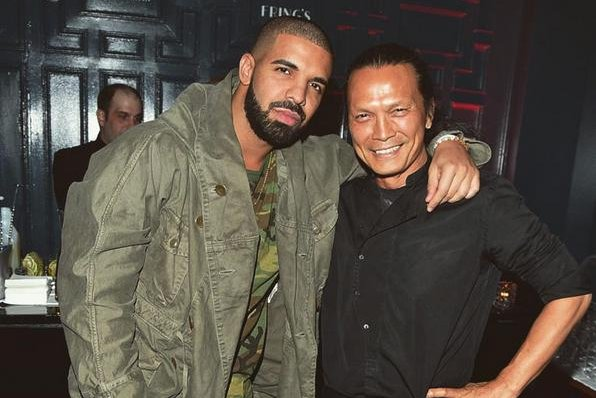 Drake with Toronto based chef Susur Lee for the soft launch of their new restaurant Fring's Toronto. Photo courtesy of Susur Lee/Instagram.