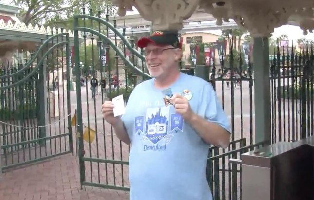 Jeff Reitz, an Air Force veteran in California, visited Disneyland for the 2,000th straight day on Thursday after receiving an annual pass in 2012. Screen capture/SCNG/Inform Inc.