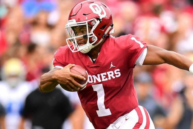 Kyler Murray (1) has thrown for 515 yards and five touchdowns with one interception through two games. He's also rushed for 92 yards and two scores. Photo courtesy of Oklahoma Sooners Football/Twitter