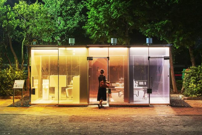 Public toilets in two Tokyo parks are drawing attention due to an unusual design feature -- transparent walls that turn opaque once the door is locked. Photo courtesy of Satoshi Nagare/The Nippon Foundation