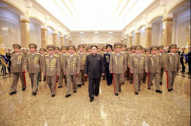 Kim Jong Un and top North Korean generals paid their respects to founder Kim Il Sung at Pyongyang's Kumsusan Palace of the Sun on the occasion of Kim's 104th birthday anniversary last Friday. Kim was selected to represent the Seventh Party Congress. File Photo by Rodong Sinmun