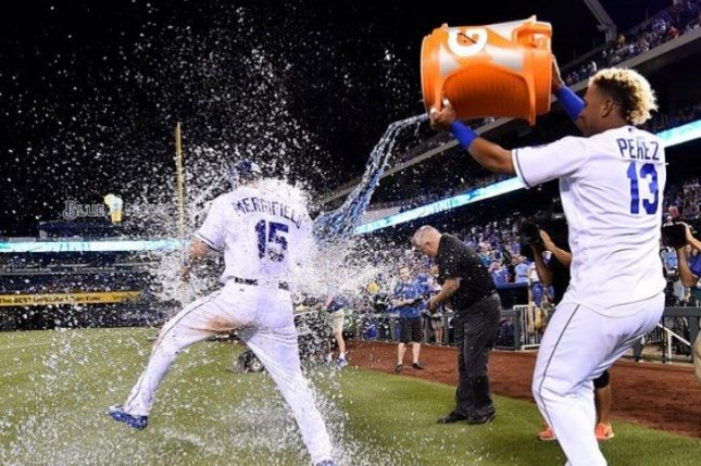 Whit Merrifield is splashed after the game. Merrifield drove in the go-ahead run with a seventh-inning single as the Royals defeated the Boston Red Sox. Photo courtesy of Kansas City Royals/Instagram