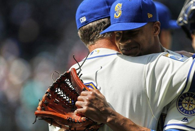 Ariel Miranda gets a hug from manager Scott Servais after a 4-hit complete game victory on Sunday. Photo courtesy Seattle Mariners/Twitter.