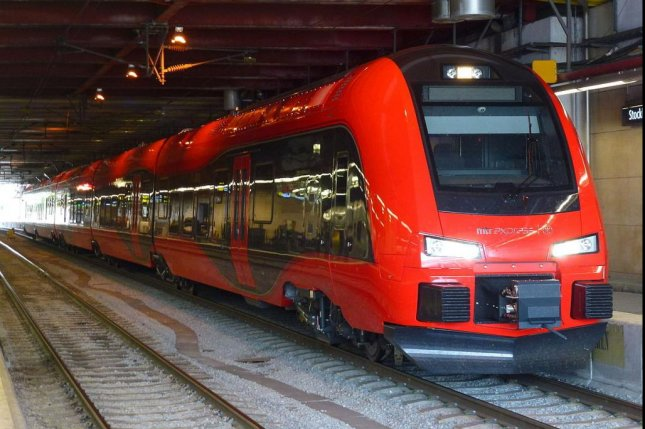 A train from Swedish rail operator MTR Express in Stockholm in 2015. The rail operator officially dubbed one of its trains Trainy McTrainface this week after a public poll. Photo by Holger.Ellgaard/Wikimedia Commons