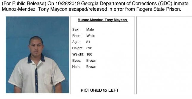 An alert from the Georgia Department of Corrections identifies convicted rapist Tony Maycon Munoz-Mendez, who was freed on October 25. Image courtesy Georgia Department of Corrections