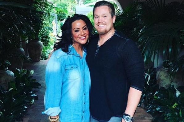 Katy Mixon (L), pictured with Breaux Greer, is expecting a baby girl in May. Photo by Katy Mixon/Instagram