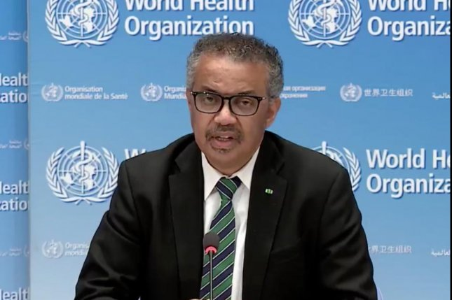 World Health Organization Director-General Tedros Adhanom Ghebreyesus urged countries around the world to avoid complacency in the battle against the COVID-19 pandemic Monday. Photo screenshot from televised media briefing