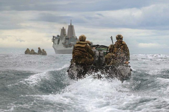 U.S. Marine Corps members attached to the USS New Orleans are pictured in June during drills in the Philippine Sea, exercises that are permitted by an agreement with the Philippines that is that is due for an extension. Photo by LCpl. Grace Geriach/U.S. Marine Corps