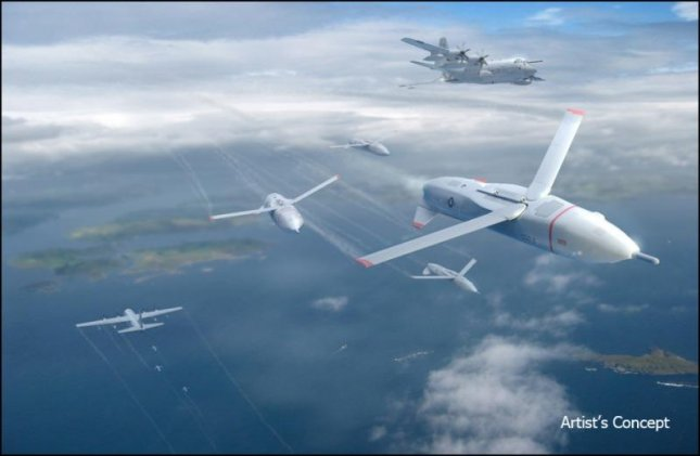 An artist's portrayal of a swarm of air-launched drones. Image by DARPA