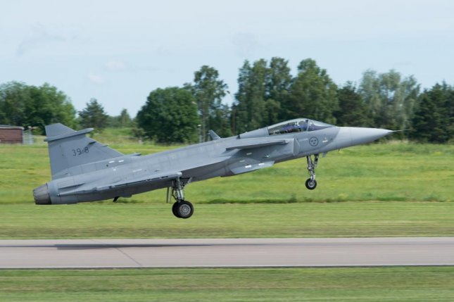 The Gripen E from Saab, which features Leonardo electronic systems. Photo courtesy of Saab
