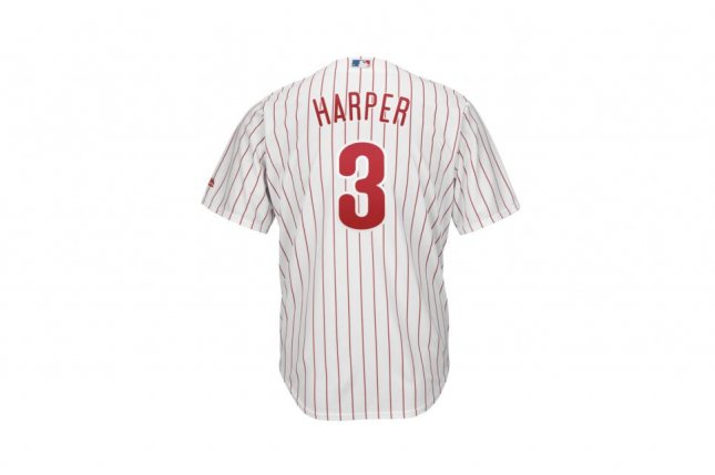 Bryce Harper's No. 3 Philadelphia Phillies jersey is the No. 1 selling jersey entering the 2019 season. Photo courtesy of MLBShop.com